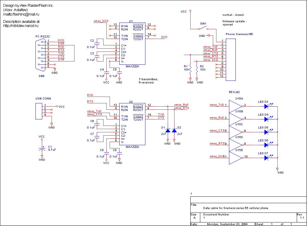 Siemens s55 схема кабеля